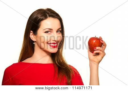 Woman Eating Red Apple Fruit Smiling Isolated On White Background Showing