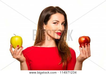 Woman Holding Red And Green Apple Fruit Smiling Isolated On White Background