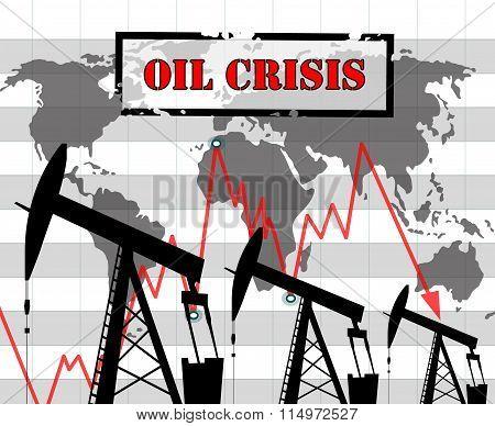 Oil crisis  graph illustration