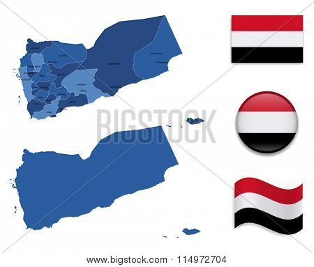 High Detailed Map of Yemen With Flag Icons