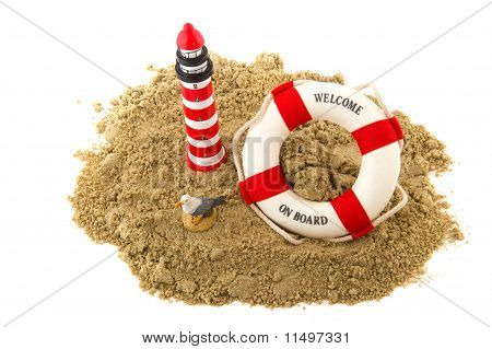Coast with lighthouse life buoy and seagull poster