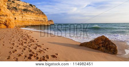 pictorial sea scenery over sunset in Algarve, Portugal