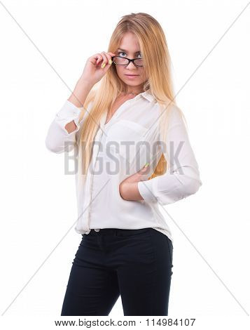 beautiful blond business woman standing over white background with copy space