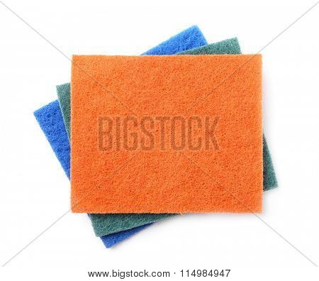 Top view of kitchen scourer pads isolated on white