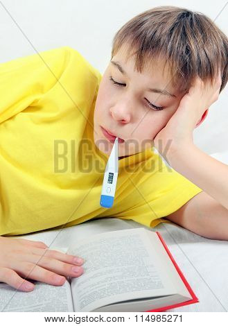 Sick Kid With Thermometer