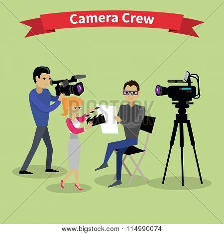 Camera Crew Team People Group Flat Style