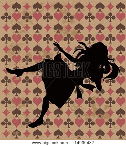 Alice silhouette on wonderland play card background
