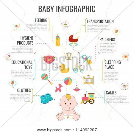 Baby Infographic. Vector Illustration