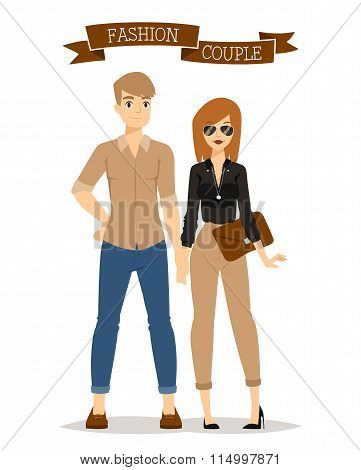 Beautiful vector cartoon couple fashion clothes models look standing over white background