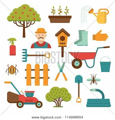 Gardening tools vector icons isolated on white background