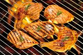 Grilled chicken breast and chicken thigh on the flaming grill poster