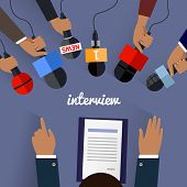 Workspace interview design flat. Job interview, tv interview, interview microphone, business workplace, office table, desk and businessman employment illustration poster