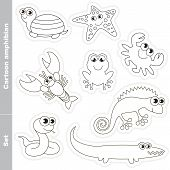 Amphibian colorless set in vector. Under water animals and amphibians. Coloring book for children. poster