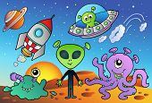 Various alien and space cartoons - vector illustration. poster