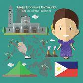 Asean Economics Community AEC Philippines eps 10 format poster