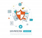 Flat shield icon. Data protection concept. Social network security. Investment security. Color line icons poster