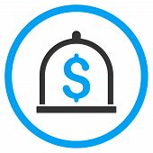Dollar Deposit vector icon. Style is bicolor flat circled symbol, blue and gray colors, rounded angles, white background. poster