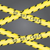 Do not cross the line caution vector tape. Seamless police warning tape set. Prohibiting crossed yellow lines. Crime scene restricted zone. poster