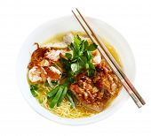 Wonton hoanh thanh noodle soup isolated on white poster