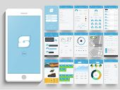 Creative Mobile Application User Interface layout with smartphone and different screen presentation. poster