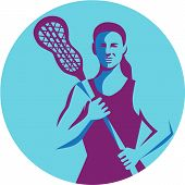 Illustration of a female lacrosse player holding lacrosse stick facing front set inside circle on isolated background done in retro style. poster