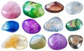 natural mineral gem stone - set from 12 pcs blue pink violet yellow green transparent gemstones isolated on white background poster