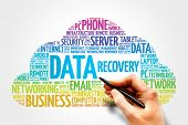 Data Recovery word cloud concept collage background poster