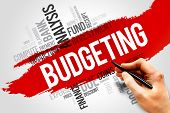 BUDGETING word cloud business concept presentation background poster