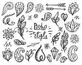 Set of Ornamental Boho Style Elements. Fashion chalked hippie symbols for your design. Vector Drawing. poster