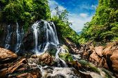 Waterfal near Cat Cat Village near (Sapa) Sa Pa, Vietnam - popular tourist trekking destination poster