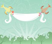 sweet little birds hold a banner high in the sky for your message poster