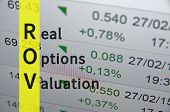 Acronym ROV as Real options valuation. Financial illustration. poster