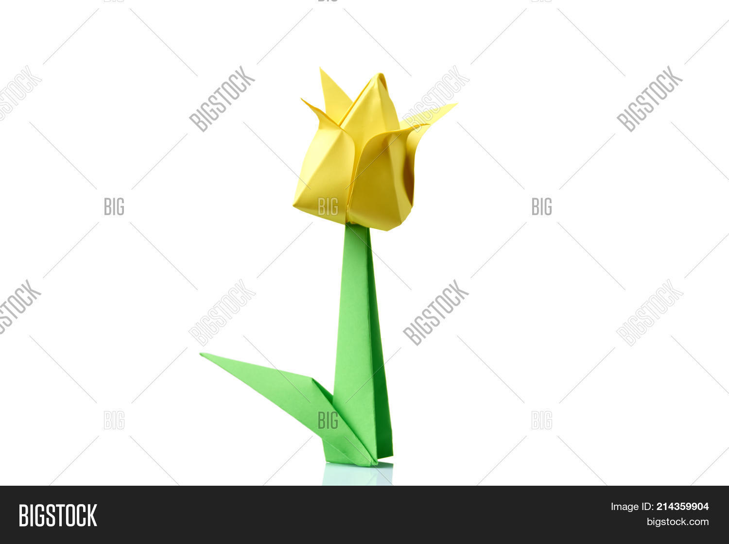 Yellow tulip origami flower image photo bigstock yellow tulip origami flower traditional model of bulb and leaf simple origami crafting for mightylinksfo