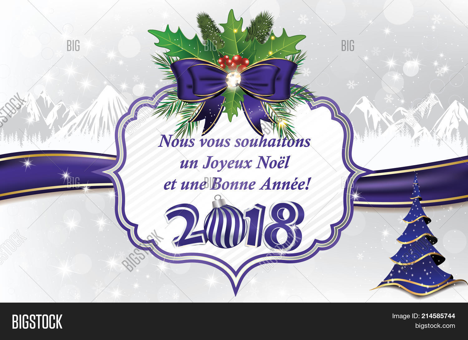 happy new year 2018 seasons greeting card with french message text translation we