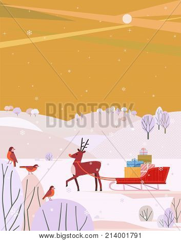 Deer and Santa Sleigh. Cheerful Reindeer, Christmas snow sledge, gift present boxes. Colorful winter landscape cartoon. Vector Template for holiday season new year event greeting card, banner, flyer