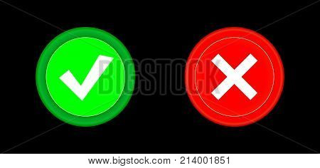 Tick icon set red and green circle 3D button . Add cancel or the plus and minus signs on buttons or circles icon isolated on black background. Vector illustration