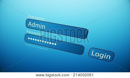 Typing An Username And Password On The Web Page. Close Up Of The Web Page With Login Empty Form For