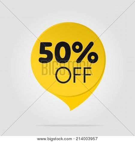 Special offer sale yellow tag isolated vector illustration. Discount offer price label symbol for advertising campaign in retail sale promo marketing fifty percent off discount sticker ad offer on shopping day
