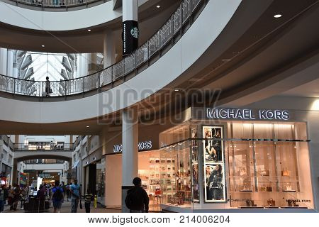 ROVIDENCE, RHODE ISLAND - AUG 12: Providence Place Mall in Rhode Island, as seen on Aug 12, 2017. The 1.4 million sq. foot facility was constructed in 1999 at a cost of $460 million.