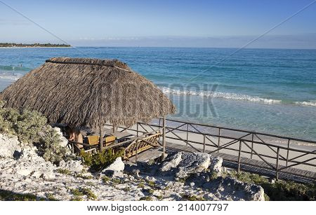 Wooden hut on the seashore. Cayo Largo island Cuba