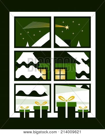 vector gifts in the window and snowy landscape with comet outside the window