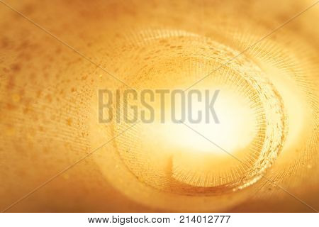 Golden Glitter Texture. Textile Roll With Light Inside. Design Concept. Abstract Background. Blured