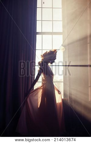 Beautiful Blond Woman Standing In Sunlight At Window In A Long Beige Dress. Fabulous Fairy With Long