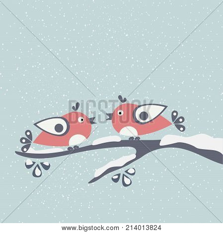 Cute Winter Birds tweeting on a branch of tree covered with snow. First Snow. Vector Illustration