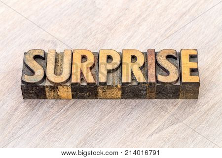 surprise word abstract in vintage letterpress wood type