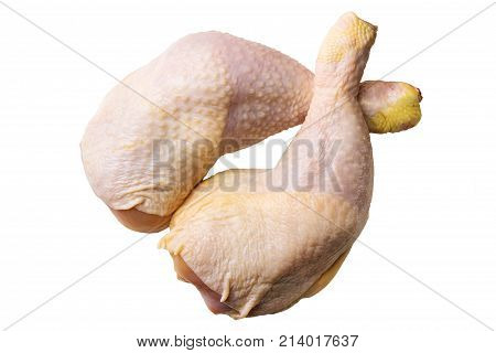 Two fresh raw chicken legs or thighs isolated on white background top view.
