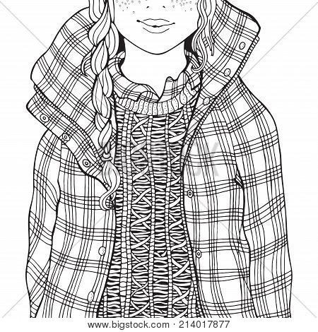 Winter Girl In A Checkered Jacket.