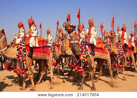 Jaisalmer, India - February 16: Unidentified People Take Part In Camel Procession During Desert Fest
