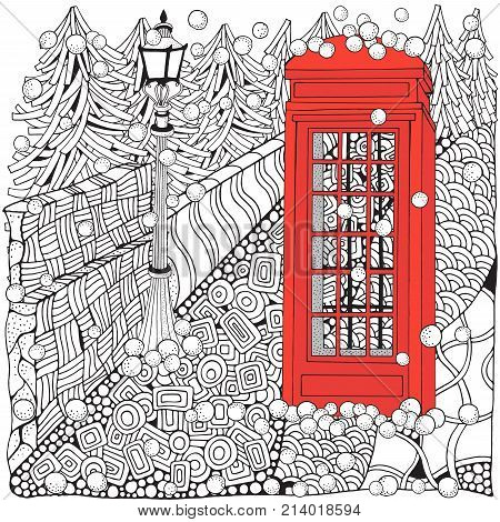 Winter Coloring Book. Phone Booth