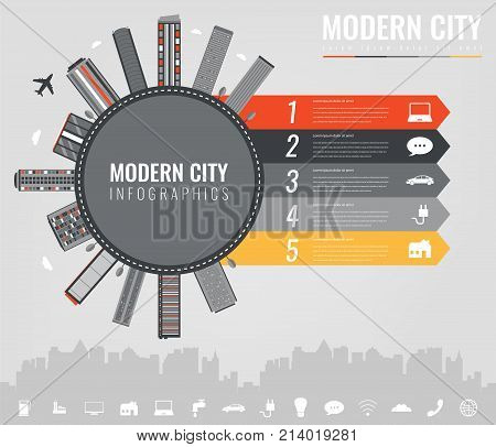 City infographic elements. Modern city infographics. Smart city. Concept website template. Vector illustration